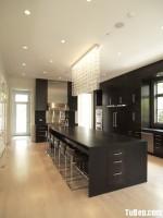 Tủ bếp Lamiante màu vân gỗ chữ I có bàn đảo TBT0419