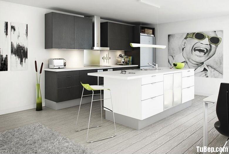 Đen vân nổi kết hợp màu trắng Tủ bếp gỗ Laminate có đảo TBT0245