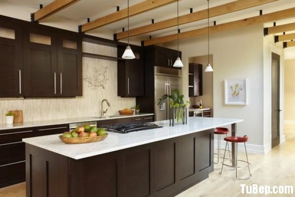 Xoan đào sơn men đen Tủ bếp gỗ tự nhiên có đảo TBT0255