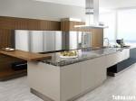 Tủ bếp gỗ Laminate chữ L màu trắng phối cam TBT0788