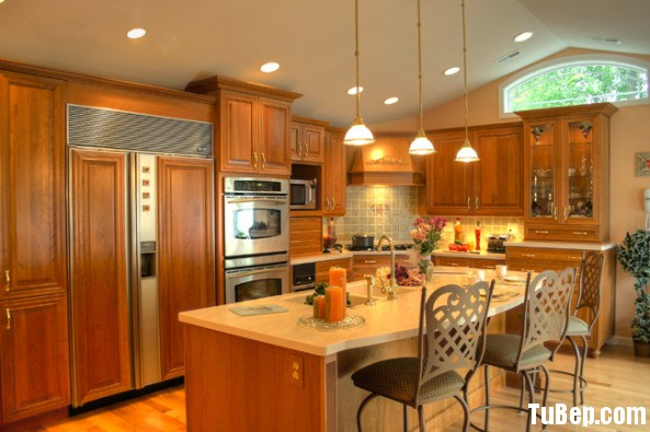 tần bì sơn PU Tủ bếp gỗ tần bì có đảo TBT0242