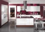 Tủ bếp gỗ Acrylic màu trắng kết hợp vân gỗ chữ I TBT0522