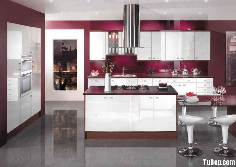 8 Tủ bếp gỗ Acrylic có đảo TBT0081