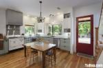Tủ bếp hình chữ L gỗ sổi sơn men– TBB220