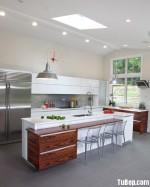 Tủ bếp gỗ MDF Acrylic, kèm bàn đảo – TBB065