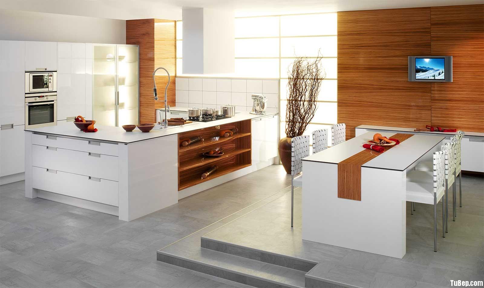 Acrylic trắng2 Tủ bếp Acrylic có đảo TBT0271