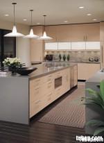 Tủ bếp MDF Laminate chữ L, có bàn đảo – TBB030.