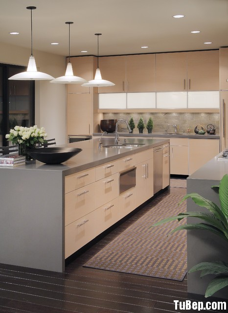 bếp công nghiệp Tủ bếp MDF Laminate chữ L, có bàn đảo – TBB030.