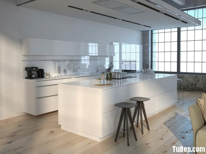 Acrylic màu trắng Tủ bếp Acrylic có đảo TBN0209