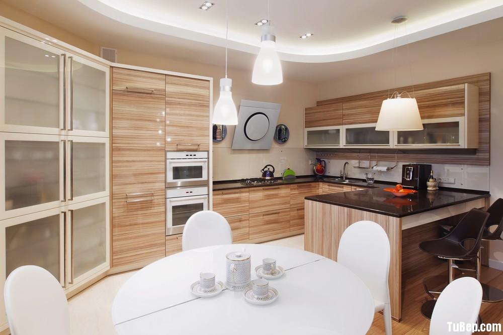 Laminate vân gỗ sáng  Tủ bếp laminate có đảo TBN0221