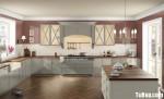 Tủ bếp gỗ Sồi sơn men, có bàn đảo – TBB205