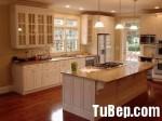 Tủ bếp gỗ tự nhiên Sồi Mỹ sơn men trắng– TBB354