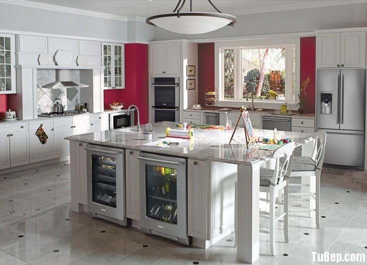 tự nhiên sơn men 11 Tủ bếp gỗ tự nhiên sơn men có đảo TBT0456