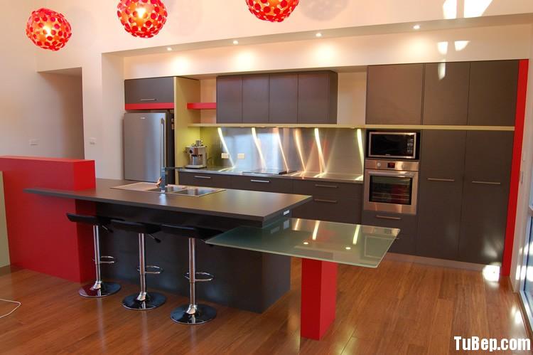 laminate xám Tủ bếp gỗ Laminate chữ I màu xám đỏ TBT0446