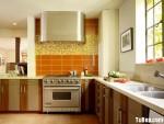 Tủ bếp gỗ Laminate hình chữ L màu vân gỗ phối trắng có đảo TBT0601