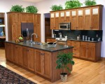 Tủ bếp gỗ xoan đào có đảo TBT0345