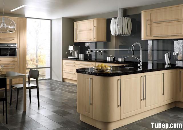 laminate kem Tủ bếp gỗ Laminate chữ L màu kem TBT0444