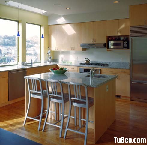 Laminate vân gỗ nhạt Tủ bếp gỗ Laminate có đảo TBT0291