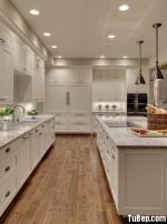 Tủ bếp gỗ tự nhiên Sồi Nga sơn men trắng – TBB335