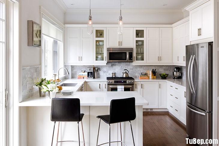 Sồi sơn men trắng Tủ bếp gỗ Sồi sơn men TBT0295