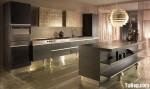 Tủ bếp gỗ Sồi tự nhiên sơn men trắng hình chữ I có đảo TBT0536