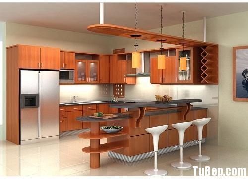 2707 4 Tủ bếp gỗ tự nhiên Xoan đào kết hợp bàn bar – TBB409