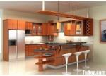 Tủ bếp gỗ tự nhiên Xoan đào kết hợp bàn bar – TBB409