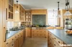 Tủ bếp gỗ tự nhiên Xoan đào kết hợp bàn đảo – TBB311