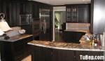 Tủ bếp gỗ Xoan đào sơn men đen TBT0399