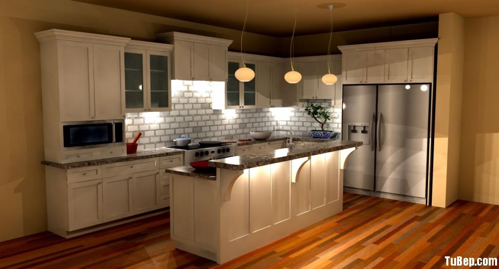 2807 2 Tủ bếp gỗ tự nhiên Sồi Mỹ sơn men trắng kết hợp bàn bar – TBB413