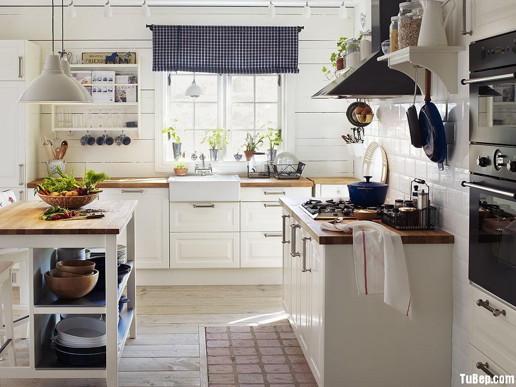 tự nhiên sơn trắng Tủ bếp gỗ Xoan Đào sơn men trắng chữ I TBT0465