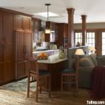 Tủ bếp gỗ tự nhiên Căm Xe có bàn Bar – TBB300