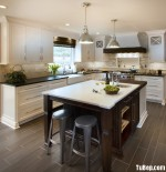 Tủ bếp gỗ Sồi Mỹ sơn men – TBB258