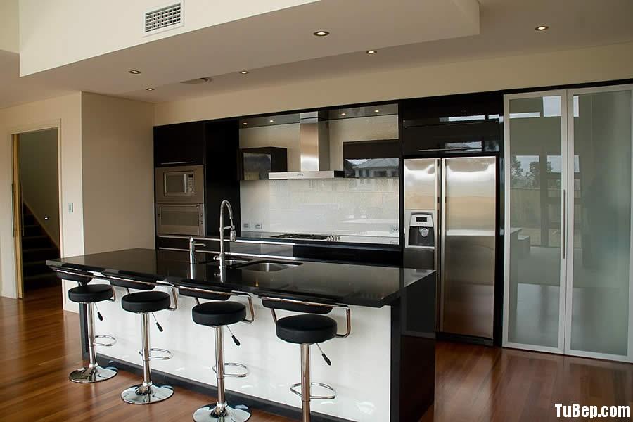 acrylic màu đen Tủ bếp gỗ Acrylic có đảo màu đen TBT0317