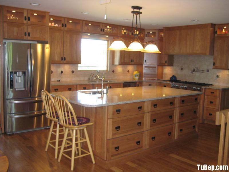 xoan đòa Tủ bếp gỗ Xoan Đào có đảo TBT0369