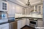 Tủ bếp gỗ Sồi sơn men trắng chữ L TBT0417