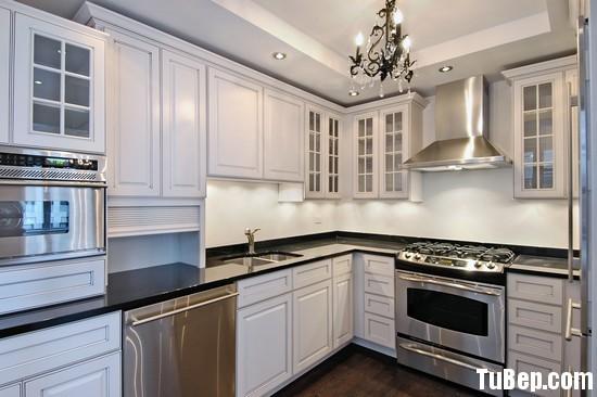 tự nhiên sơn men trắng Tủ bếp gỗ Sồi sơn men trắng chữ L TBT0417
