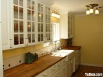 Tủ bếp gỗ tự nhiên Sồi sơn men – TBB341
