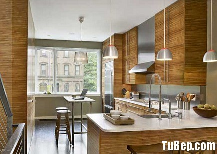 Laminte Tủ bếp gỗ Laminate màu vân gỗ chữ L TBT0397
