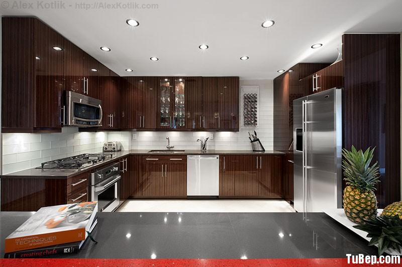 acrylic vân gỗ Tủ bếp gỗ Acrylic màu vân gỗ chữ L TBT0359