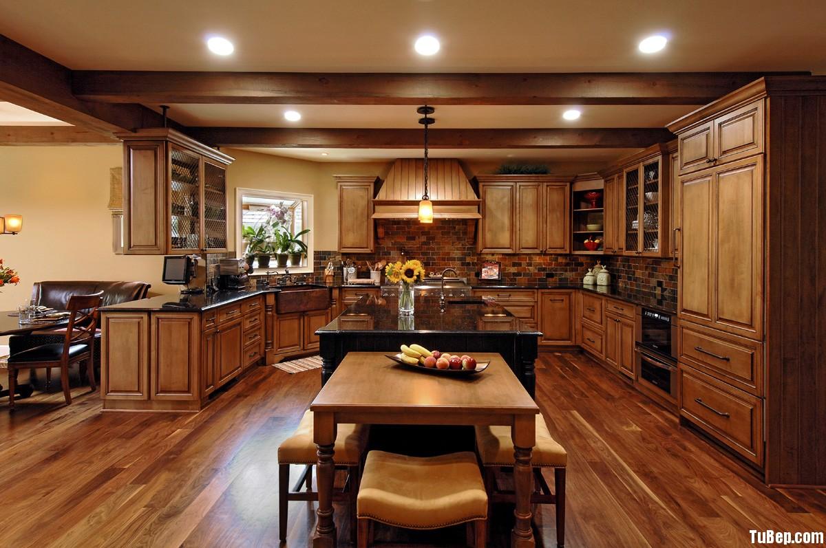 1807 7 Tủ bếp gỗ tự nhiên Tần Bì sơn PU màu – TBB356