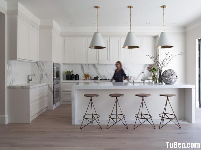 3007 4 Tủ bếp gỗ tự nhiên Sồi Mỹ sơn men + bàn bar – TBB426