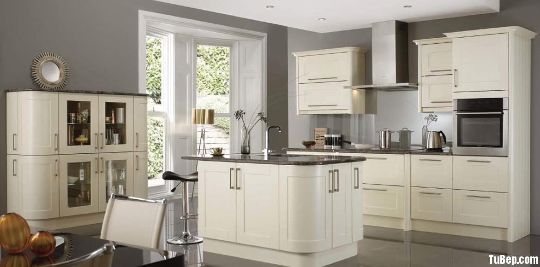 Xoan đào sơn men Tủ bếp gỗ xoan đào sơn men màu trắng ngà TBT0303