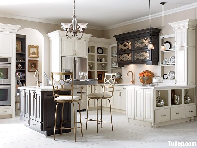 tự nhiên sơn men đen kết hợp trắng Tủ bếp gỗ tự nhiên sơn men có đảo TBT0411