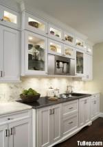 Tủ bếp gỗ tự nhiên Sồi Mỹ sơn men – TBB319