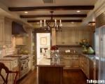 Tủ bếp gỗ tự nhiên Sồi Mỹ sơn men – TBB337