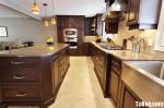 Tủ bếp gỗ tụ nhiên Xoan đào kết hợp bàn đảo – TBB362
