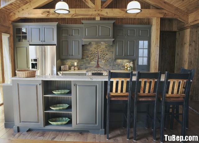 gỗ tự nhiên sơn men màu xám Tủ bếp gỗ Sồi sơn men xám chữ I TBT0402