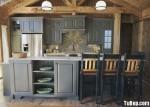 Tủ bếp gỗ Sồi sơn men xám chữ I TBT0402