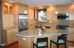 Tủ bếp gỗ Veneer có đảo TBT0441